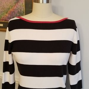 Ann Taylor Black and white striped knit top